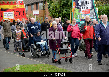 Shropshire, UK. 4th Nov 2018. Thousand of people protesting against the planned closure of the Princess Royal Hospital Accident & Emergency department in Telford Credit: David Bagnall/Alamy Live News - Stock Photo