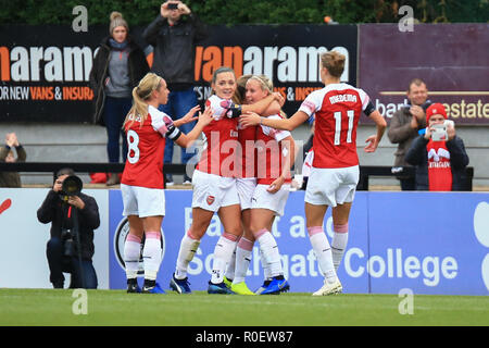Borehamwood, London, UK. 4th November, 2018. Arsenal celebrate their second goal.  Peter Lopeman/Alamy Live News - Stock Photo