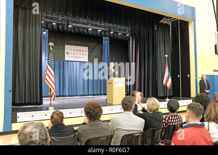 Cleveland, Ohio, USA.  4th Nov, 2018.  Richard Cordray speaks at the podium during a democratic rally at George Washington Carver School in Cleveland, Ohio, USA.  He is on stage campaigning to be the next governor of Ohio during the upcoming US midterm elections.  Credit: Mark Kanning/Alamy Live News. - Stock Photo