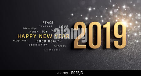 Happy New Year greetings and 2019 date number, colored in gold, on a festive black background, with glitters and stars - 3D illustration - Stock Photo