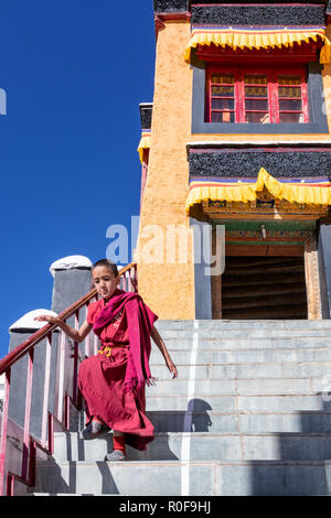 Young monk running down the stairs at Thikse Monastery (Thiksay Gompa), Ladakh, Kashmir, India - Stock Photo