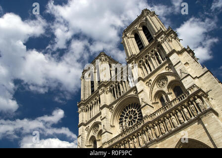 The western side of Notre-Dame features two bell towers; the cathedral is one of the finest examples of French Gothic architecture, Paris, France. - Stock Photo