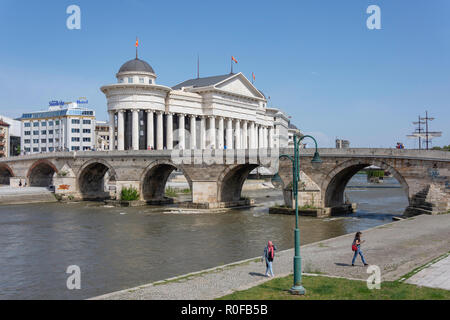 The Old Stone Bridge and Museum of Archaeology across River Vardar, Skopje, Skopje Region, Republic of Macedonia - Stock Photo