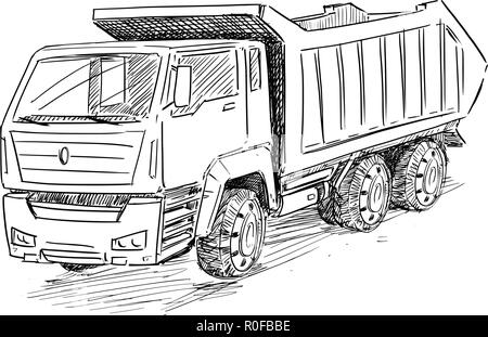 Vector Sketch Drawing Illustration of Dump Truck - Stock Photo