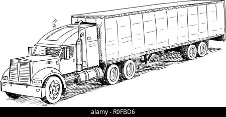 Vector Sketch Drawing Illustration of Truck - Stock Photo