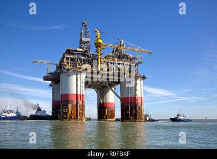 'Big Foot' Chevron's Deep Ocean Platform, Corpus Christi Ship Chanel,  Port Aransas, Texas. - Stock Photo