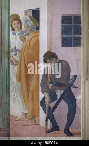 Fresco 'Saint Peter Being Freed from Prison' by Italian Renaissance painter Filippino Lippi (1485) in the Brancacci Chapel (Cappella Brancacci) in the Church of Santa Maria del Carmine in Florence, Tuscany, Italy. - Stock Photo