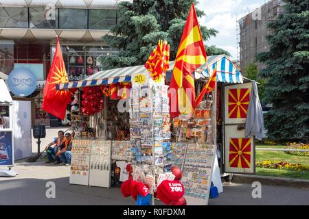 Souvenir kiosk, Macedonia Square, Skopje, Skopje Region, Republic of Macedonia - Stock Photo