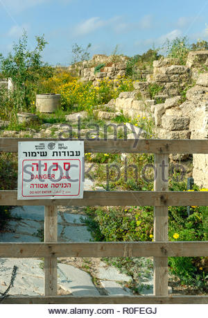 Closed section of Caesarea archaeological area, Israel - Stock Photo
