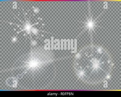 Isolated golden lens flare. Glow transparent vector light effect set, explosion, glitter, spark, sun flash, and star burst. Abstract translucent special element design. Shine semitransparent comet - Stock Photo