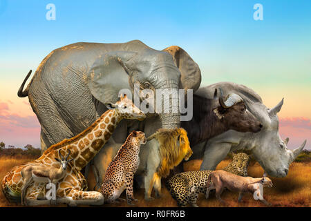 Side view of Big Five and wild african animals composition on savannah landscape at sunset light. Serengeti wildlife area in Tanzania, Africa. African safari scene. Wallpaper and collage background. - Stock Photo