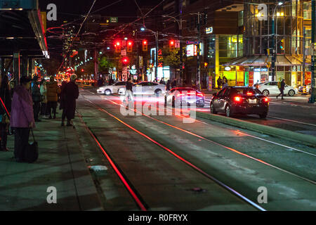 Toronto, CANADA - November 3th, 2018: Night view to City street of Toronto Canada - Stock Photo