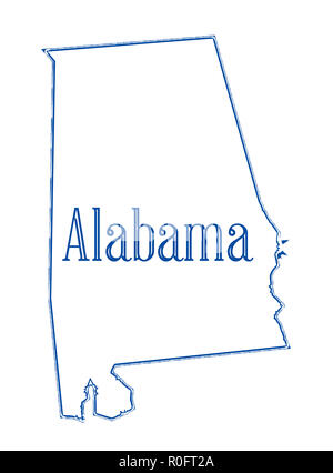 State Map Outline Of Alabama Over A White Background With State Flag