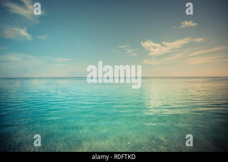 Vintage style effect sea view. Calming colors of sea, ocean - Stock Photo
