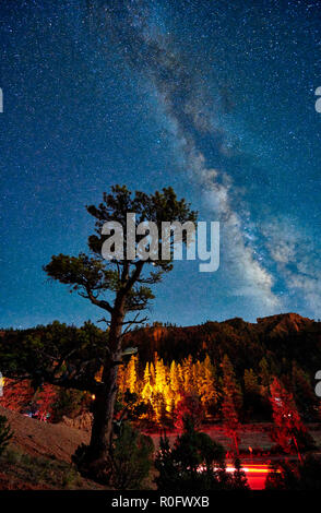 night sky with Milky way over Red Canyon in Dixie National Forest, Utah, USA, North America - Stock Photo