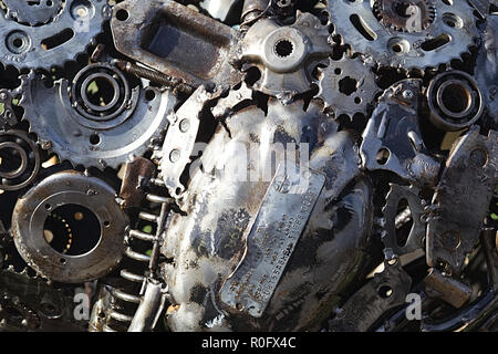 Car parts fused together to make a pattern  / jigsaw - Stock Photo