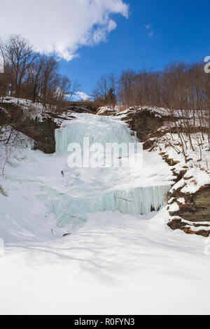 Montour Falls, frozen on a sunny winter day, which is located in Schuyler County, New York State about 10 miles south of Watkins Glen. - Stock Photo