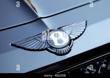 Monte-Carlo, Monaco - September 19 2018: Shining Bentley Winged 'B' Logo (Emblem) On The Bonnet Of A Luxury Black Car At Monte-Carlo, Monaco. Closeup  - Stock Photo