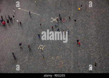 Prague, aerial view of the old town square with cobblestones and people, Czech Republic - Stock Photo