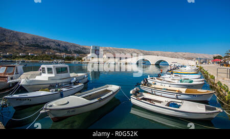 Town of Pag, waterfront with boats. Pag is a historic town on the island of the same name in Zadar County. - Stock Photo