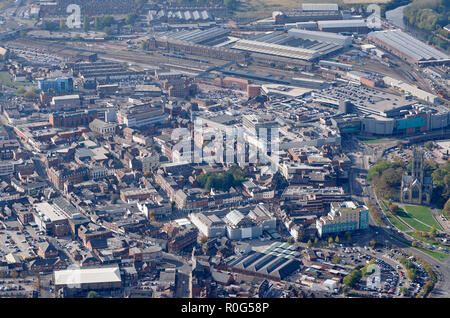 aerial view of Doncaster Town Centre, South Yorkshire, Northern England, UK - Stock Photo