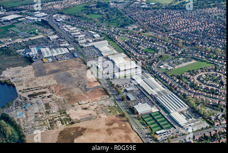 aerial view of Wheatley Hall road, Doncaster, main out of town retail area, South Yorkshire, Northern England, UK - Stock Photo