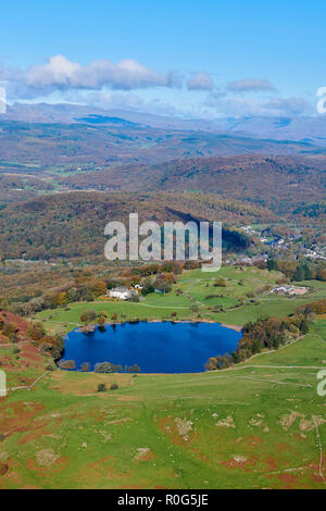 An aerial view of the southern Lake District, North West England, UK looking north towards lake Windermere - Stock Photo