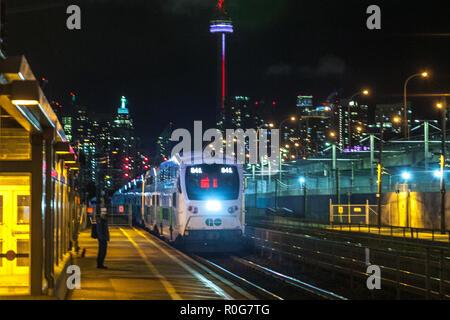 Toronto, CANADA - November 3th, 2018: Night view to City street of Toronto Canada - Stock Photo