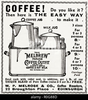 1930s old vintage original advert advertising The Melbrew coffee outfit by WP Melrose & Co Coffee Roasters of Edinburgh Scotland UK in English magazine circa 1932 - Stock Photo