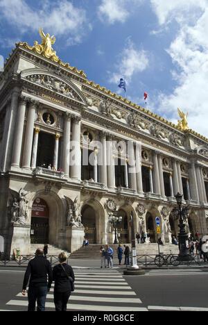 The Palais Garnier (Garnier Palace) opera house, famous as the setting for Gaston Leroux's 1910 novel 'The Phantom of the Opera,' Paris, France. - Stock Photo