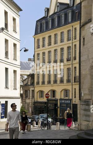 "Rue de la Montagne Sainte-Genevieve, a movie location for Woody Allen's film, 'Midnight in Paris,"" near the Pantheon, Latin Quarter, Paris. - Stock Photo"