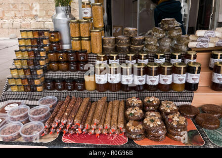 Local Produce on sale outside the Monastery walls along the street in Montserrat, Barcelona, Spain - Stock Photo