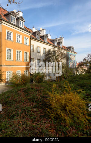 Warsaw, Poland - November 1, 2018: Residential buildings in the Old Town of Warsaw in autumn , Poland. - Stock Photo