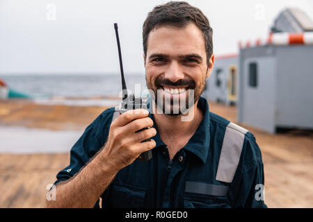 Marine Deck Officer or Chief mate on deck of vessel or ship