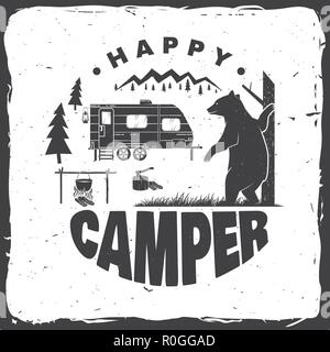 Happy camper. Vector illustration. Concept for shirt or logo, print, stamp or tee. Vintage typography design with camping trailer, bear, campfire and forest silhouette. - Stock Photo
