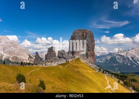 Summer view Cinque Torri, Dolomiti Alps, Italy Alto Adige, South Tyrol - Stock Photo