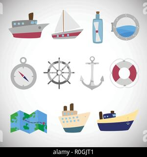Sea transportation set on white background icons - Stock Photo