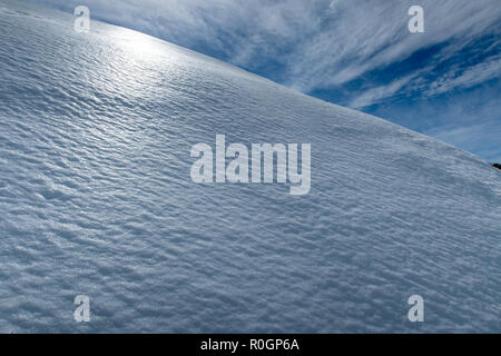 The spring snow glistens and shines in the afternoon sun on the side of a mountain - Stock Photo