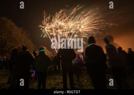 fireworks display in rain and wind - UK - Stock Photo