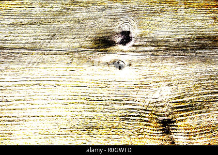 Colored high contrast wooden texture in yellow tones, lengthwise cut with knots, HDR toning - Stock Photo