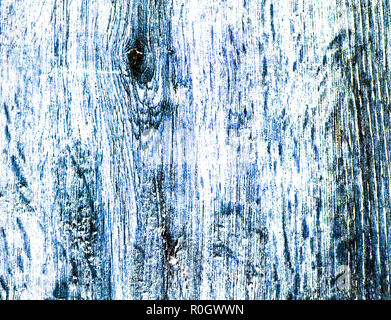 Colored high contrast wooden texture in blue tones, lengthwise cut with knots, HDR toning - Stock Photo