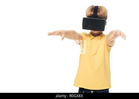 cute little boy using virtual reality headset isolated on white - Stock Photo