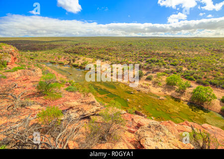 Spectacular view from Hawks Head lookout in Kalbarri National Park, Mid West region of Western Australia.The gorges and formations carved by the Murchison River attract thousands of visitors each year - Stock Photo