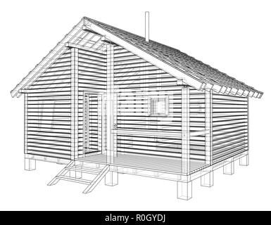 Sketch of small house. Vector rendering of 3d - Stock Photo