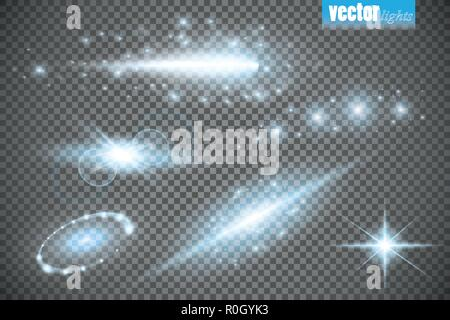 Set of glow light effect stars bursts with sparkles isolated on transparent background. For illustration template art design, banner for Christmas celebrate, magic flash energy ray - Stock Photo