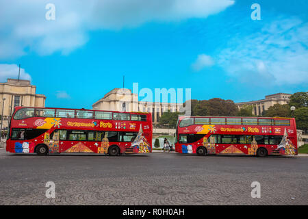 PARIS, FRANCE, SEPTEMBER 5, 2018 - View of Citysightseeing Bus in Paris, France, in a sunny day with blue sky. - Stock Photo