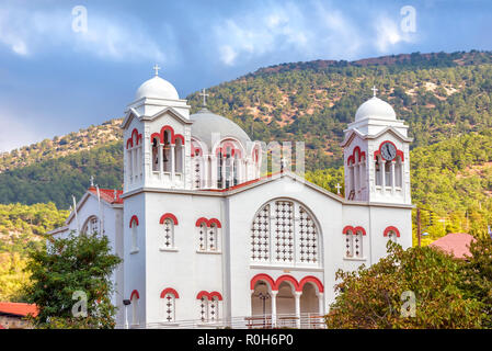 Church of Holy Cross in Pedoulas village. Nicosia District, Cyprus. - Stock Photo
