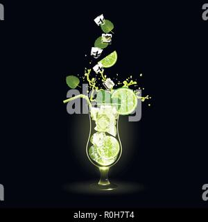 mojito cocktail with lime and ice cubes on a black background - Stock Photo