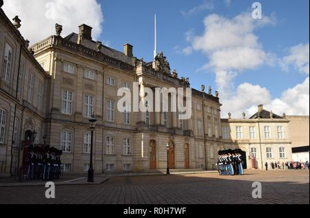 Changing of the Guard in front of King Christian VII's Palace, Copenhagen, Denmark - Stock Photo