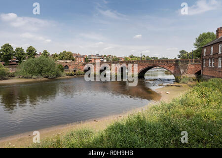 Old Dee Bridge over the river Dee in Chester, Cheshire, England, UK - Stock Photo